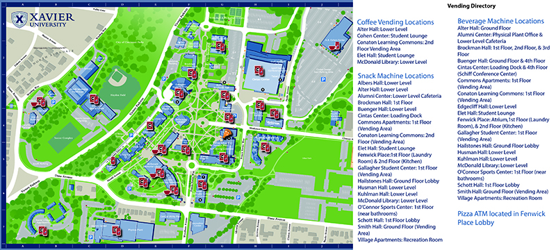 Campus map with X Cash deposit locations and ATM locations.