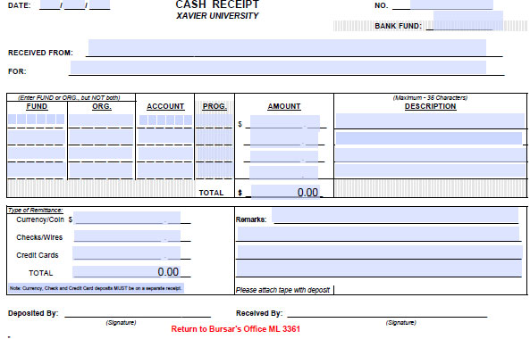 cash receipt form cfm financial planning and budget xavier