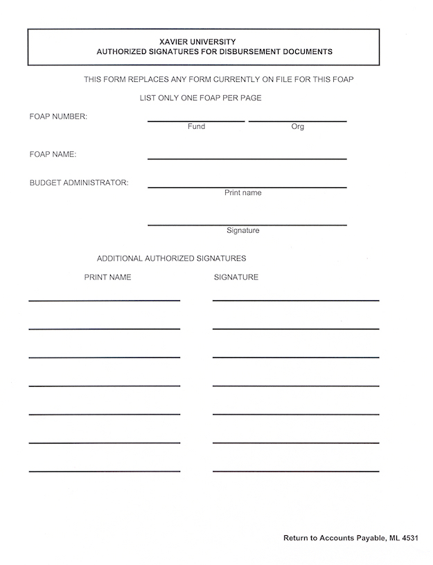 Xavier University Financial Planning and Budgeting Signature – Authority Form Template