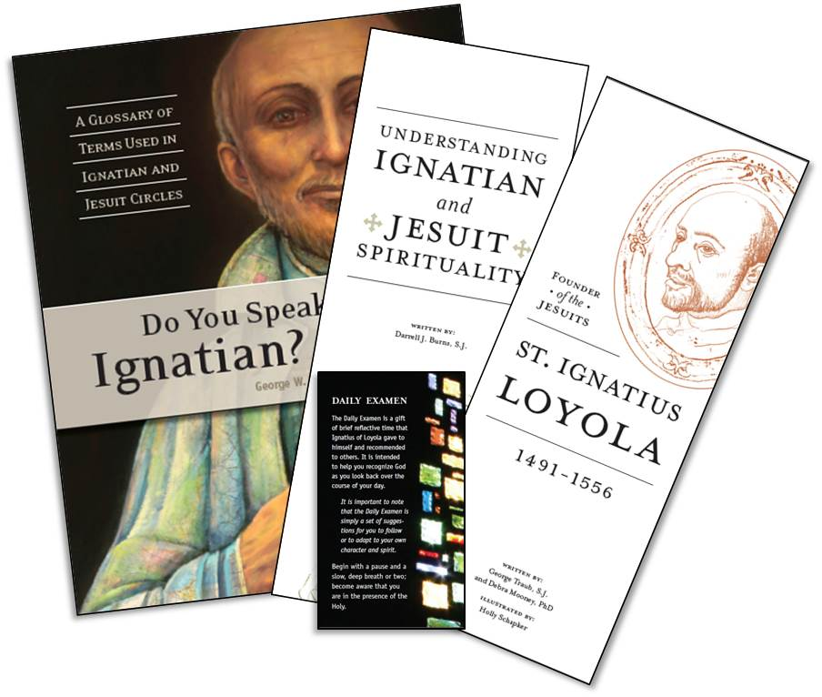 Orientation pack including Do You Speak Ignatian, Understanding Ignatian and Jesuit Spirituality, the Daily Examen, and St. Ignatius Loyola.