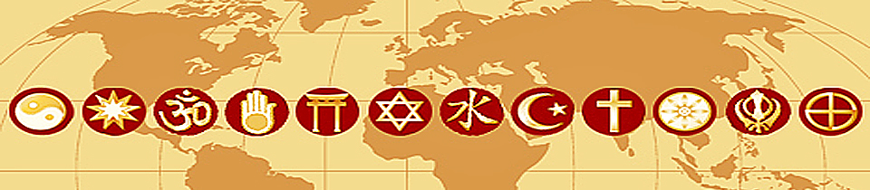 Photo of a map of the world with different symbols representing various religious faiths