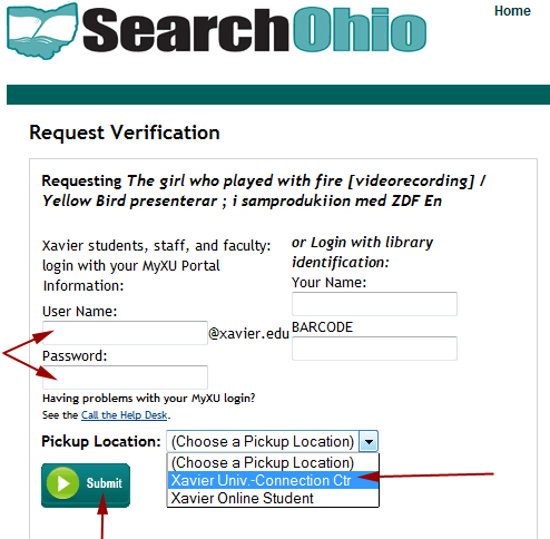 Requesting SearchOhio Materials: Username, Password, & Pickup Location
