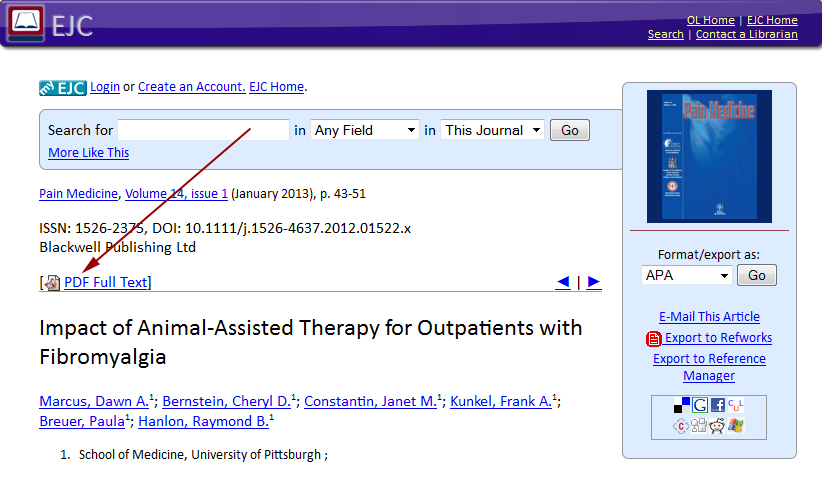 Linked Out PDF in the EJC (Electronic Journal Center)