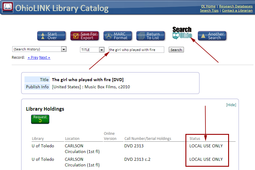 SearchOhio Button in OhioLINK Library Catalog