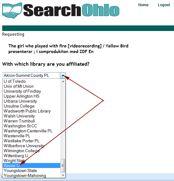 Requesting SearchOhio Materials: Selecting Your Institution