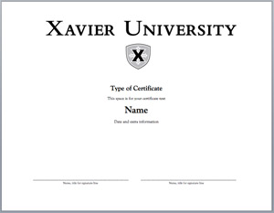 Word templates certificatese our brand office of marketing and xavier certificate option 3 lettering with logo black white toneelgroepblik Choice Image